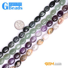 Natural Assorted Stone 10x14mm Oval Beads For Jewelry Making Free Shipping 15""