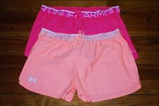 NEW Women's Under Armour HeatGear Neon Pink or Orange Athletic Shorts (Large)