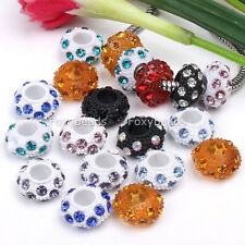 5p Crystal Resin European Loose Bead 5MM Hole Fit Snake Chain Charm Bracelet DIY