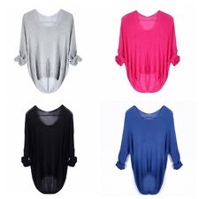 Korean Womens Crewneck Long Sleeve Sweater Pullover Casual Loose Knit Top Blouse