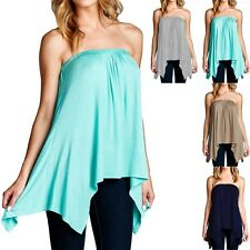 Handkerchief Solid Strapless Asymmetrical Uneven Hem Loose Fit Tube Top S M L