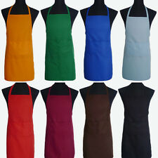 Unisex Spun Poly Craft / Commercial Restaurant Kitchen Bib Aprons With Pocket