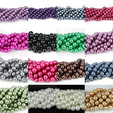 New 100Pcs Round Czech Glass Pearl Charms Beads Jewelry Findings 4/6/8/10/12mm