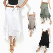 Womens Ladies Simple Long Cotton Gypsy Skirt Hippie Boho Asymmetric Maxi 8-18 AU