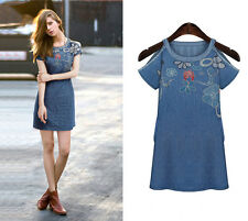 Sexy Fashion Women Loose embroidered Short-Sleeve Denim dress plus size 14-20