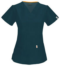 Caribbean Blue Cherokee Code Happy with Certainty V Neck Scrub Top 46607A CACH