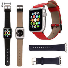 Genuine Leather Strap Wrist Band Replacement+ Metal Clasp & Tool For Apple Watch