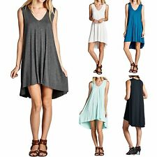 Solid Sleeveless V Neck High Low Tunic Dress Flowy Flared Casual Rayon S M L