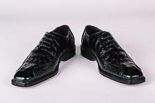 New Mens Bolano Black Crocodile Skin Print Patent Faux Leather Dress Shoes Darby