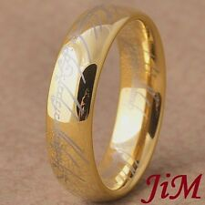 Gold Tungsten Ring Lord The Ring Mens Wedding Band LOTR Jewelry Size 6-13