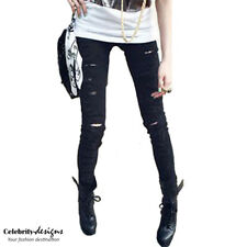 jn13 Celebrity Style Womens Black Ripped Torn Destroyed Skinny Jeans Pants 10 12