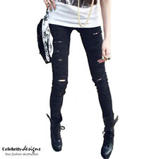Womens Black Ripped Destroyed Distressed Skinny Jeans Pants 10 12 14 16 -jn13