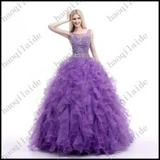 2015 Party Bead Quinceanera Prom Dress Ball Gown Evening Formal Pageant Straps