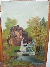 c1880 ANTIQUE VICTORIAN FLOUR MILL WATERFALL OIL PAINTING FOLK ART PLEIN AIR