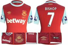 *15 / 16 - UMBRO ; WEST HAM UTD HOME SHIRT SS + PATCHES / BISHOP 7 = SIZE*
