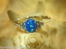 14MM RHODIUM PLATED OVER SOLID STERLING SILVER OVAL OPAL DESIGNER CZ RING 4-12