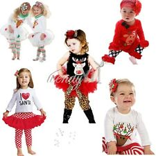 2pc Baby Girls Cartoon coat +stripe skirts pants Kids Christmas Clothes Outfits
