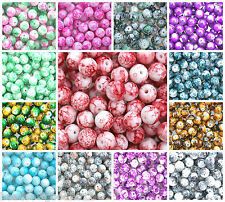 100 GLASS MOTTLED MARBLE EFFECT ROUND BEADS 8mm Beading Crafts x Colours
