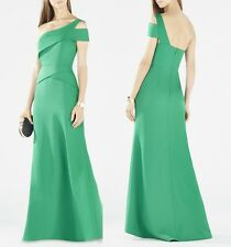2015 $368 BCBG Max Azria ANNELY One Shoulder Peplum Gown Green 0246810 NEW