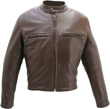 MADE IN USA THICK BROWN NAKED LEATHER CAFE RACER MOTORCYCLE BIKER JACKET