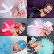 Newborn Toddler Baby Girl Tutu Skirt + Headband Photo Prop Costume Outfit NEW CA