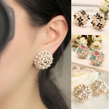 Graceful Crystal Rhinestone Mini Clover Earrings 1 Pair Flower Cluster Ear Stud