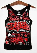 "FUNKY DIVA Black ""Dance"" Graffiti Tank Top Dancewear 1271 SELECET SIZE y5 NEW"
