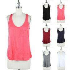 Sleeveless Solid Scoop Neck Racerback Tank Top with Front CHest Pocket S M L