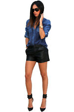 sh23 Celeb Style Vintage Cuffed High Waisted Zipper Black Faux Leather Shorts