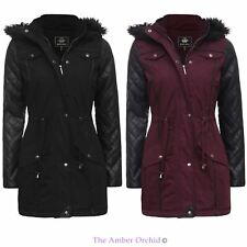 LADIES PVC QUILTED SLEEVE FISHTAIL FUR HOODED PARKA WOMENS JACKET COAT 8-16