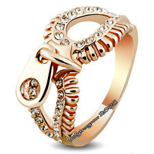 SO Cool 18K Rose GOLD GP Clear Crystal Zipper Fashion Ring M788