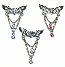 HINGED REVERSE DANGLE TOP DOWN DROP TRIBAL STYLE CHANDELIER BELLY BAR + CZ STONE