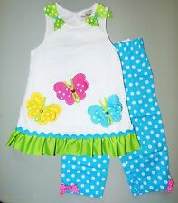 RARE EDITIONS® Girls' 5, 6 White & Turquoise 2 Pc. Butterfly Legging Set *NWT*