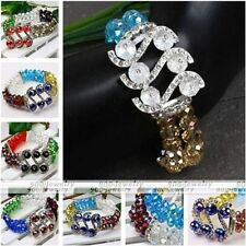 Womens Lady Fashion Faceted Crystal Glass Spacer S Beads Bangle Bracelet Elastic