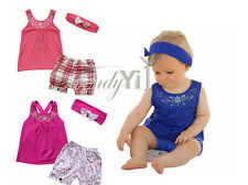 Girls Baby Outfit Headband+Top T-shirt+Floral Short Pants Clothes Set 000 00 1