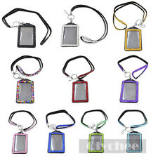 1 Pc Bling Rhinestone Lanyard Name Card ID Badge Holder Case Vertical Multicolor