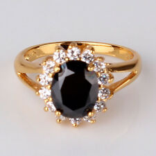 24k yellow gold filled black sapphire bling bling classice Cluster ring Sz5-Sz9