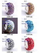 n108m08 10pc Pave Czech Crystal Rhinestones Beads Fit European Bracelet Charm