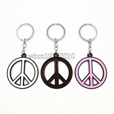 Enamel Peace Sign Symbol Pendant Key Fob Chain Handbag Purse Keyring Holder
