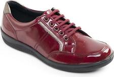 Padders ATOM Ladies Patent Leather Lace Up Wide Fit Comfort Trainer Shoes Red