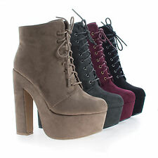 MarinoSL98 Round Toe Lace Up Platform Chunky High Heel Ankle Booties