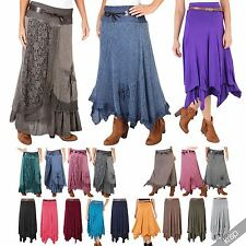 Womens Stretch Basic Jersey Maxi Gypsy Skirt Belted Long Simple Hippie Boho AU