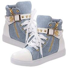Chic Girls Womens Sneakers Rivets Lace Up Buckle Zipper Walking Canvas Shoes B
