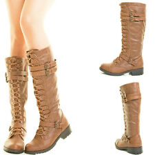 Cognac Tan Buckle Lace Up Mid Calf Knee High Tall Military Combat Riding Boot US