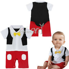 Halloween Baby Boy Formal Tuxedo Mickey Mouse Romper Outfits Clothes Gentleman