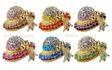 Full Crystal Cute Hat Bowknot Lovely Women Lady Brooch Pins PARTY Wedding GIFTS