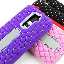 For LG G2 2013 Colorful Impact Hybrid Spot Diamond Hard Case Cover w/Stand