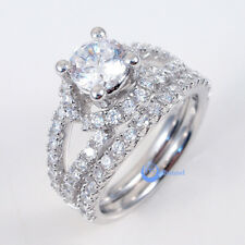 1.25ct Engagement Wedding Set 2 RINGS Signity CZ Rhodium over Sterling Silver