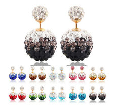 Shining Disco Ear stud Ball/Beads Crystal Shamballa Earrings Gradient Color Iron