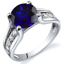 Solitaire Style  2.75 cts Blue Sapphire Ring Sterling Silver Sizes 5 to 9